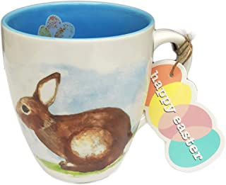 Happy Easter Cute Bunny Rabbit and Colorful Speckled Eggs Novelty Springtime 16 oz Coffee Tea Coco Drink Gift Mug
