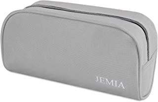 JEMIA - Gray Pencil Case with Small Zipper and Mesh Pockets in Large Compartment to Hold Office Cosmetic Makeup Accessories in Organized for Kid, Teen, Boy, Girl or Adult for Men, Women
