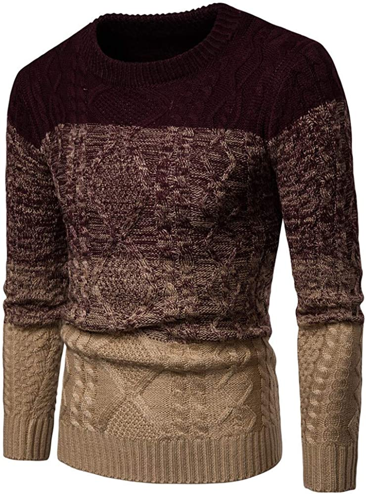 Mens Tops Mens Gradient Color Winter Pullover Knitted Top Striped Sweater Outwear Blouse