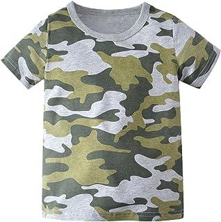 Kids Camouflage T-Shirts Childs Classic Woodland Camo Shirt Little Boys' Camo Short Sleeve Crew Tee,(2T-7T)
