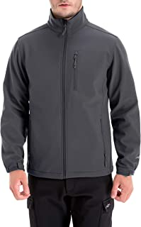 Men's Windproof Softshell Zip-Front Fleece-Lined Jacket Winter Outerwear
