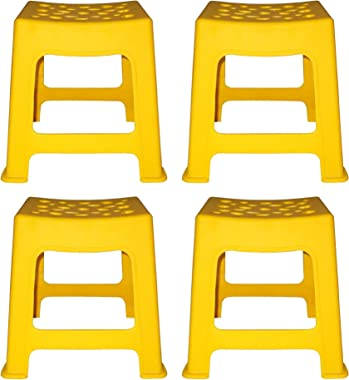 Kotak Sales Multipurpose 4 Piece Design Plastic Unbreakable Stool Non Toxic Stackable Step Stool Sitting for Living Room Camp