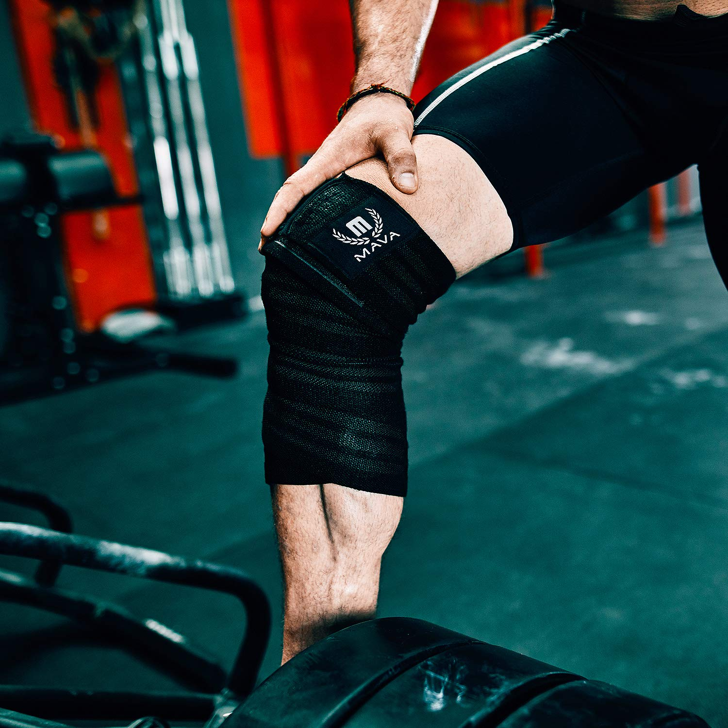 Piece Black Mava Knee Wrap for Weightlifting