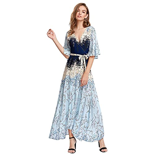 bf73f1a7bb8a Milumia Women's Boho Deep V Neck Floral Chiffon Wrap Split Long Maxi Dress