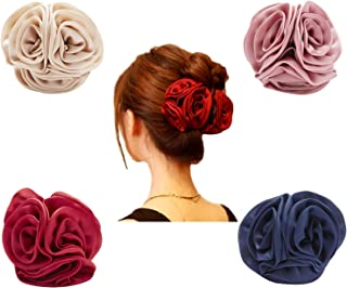 4 Pack Large Butterfly Octopus Ribbon Silk Chiffon Rose Flower Large Bows Metal Hair Claw Clips Jaw Barrettes Grips Clamps Clasps Pins Decorative Buns Twist Hair Up Fancy Accessories for Women Girl