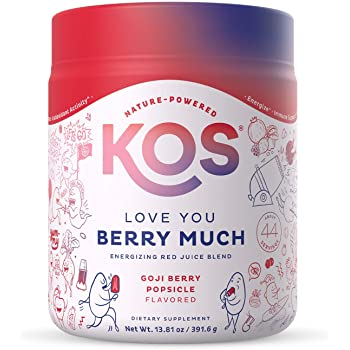 KOS Organic Reds Juice Powder, 45 Servings - Delicious Goji Berry Popsicle Flavor - Fruit & Vegetable Superfood Supplement - Energy Booster, Digestive Enzymes, Circulation Support