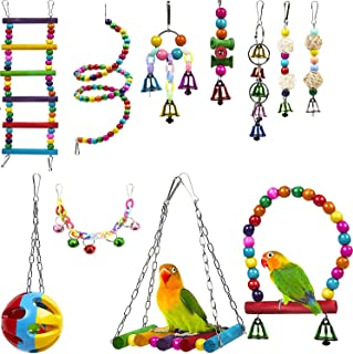 Bird Swing Chewing Toys, 11 Packs Brightly colored and sturdy Parrot Hammock Bell Toys,Parrot Cage Toy Bird Perch with Woo...