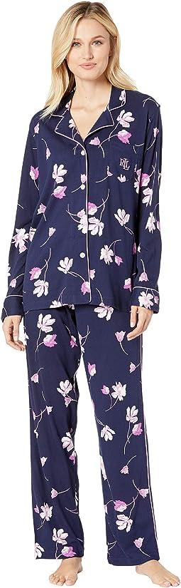 Knit Notch Collar Pajama Set