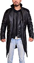 Abbraci Men's Ring Style Genuine Real Black Leather Winter Trench Long Coat