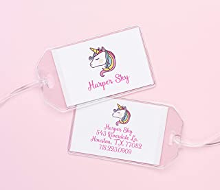 Personalized Unicorn ID Tags for Backpacks, Custom Kids Tags for Childrens Allergy, Lunchbox, Medical Alert, Dismissal, Transportation, Diaper Bag, Baby & other Info Reminders
