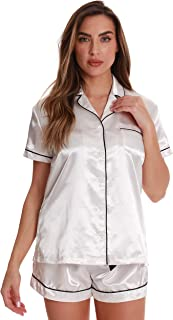 Solid Satin Pajama Short Set for Women Sleepwear PJs