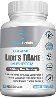 Organic Lion's Mane Mushroom – Handpicked, 3rd Party-Tested, Natural Brain, Nerve & Immune System Support. Pure Superfood ...