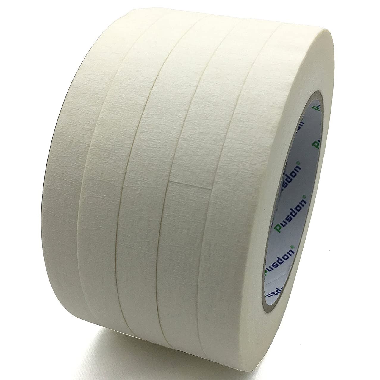 Pusdon Masking Tape White 5 Rolls, 1 Pack, Each Roll 1/2-Inch x 60 Yards, Ideal for Label Office Arts Crafts School Use