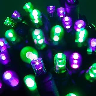 Wintergreen Lighting LED Purple, Green Halloween Mini Light Set, 70 5mm Lights, Indoor/Outdoor Halloween Light Decorations, 120V UL Certified, Black Wire