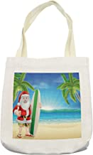 Ambesonne Christmas Tote Bag, Santa Claus with Trunks on the Beach and Surfboard Sunny Hot Christmas Theme, Cloth Linen Reusable Bag for Shopping Books Beach and More, 16.5