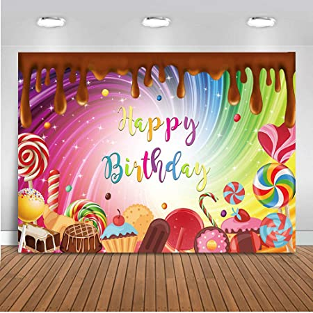 Zhy Rainbow Candy Backdrop for Birthday Party 7x5ft 2.1x1.5m Bunting Photography Background Bday Party Decor Supplies Photo Shooting Props BJQQST62
