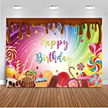 Mocsicka Chocolate Birthday Backdrop 7x5ft Sweet Candy Theme Party for Birthday Background Lollipop Cupcake Candyland Photography Backdrops