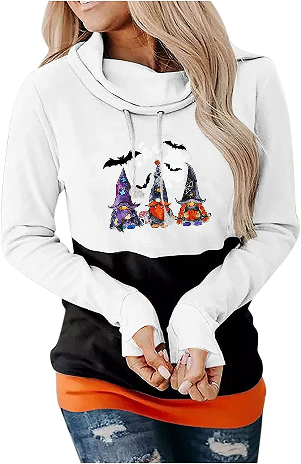 Women Fitted Hooded Halloween Sweatshirt, Cute Gnome Ghost Graphic Casual Pullover Tunic Fall Blouse Tops Tshirts