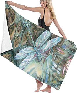 SARA NELL Microfiber Beach Towel Dragonfly and Lotus Bath Towel Beach Blanket Quick Dry Towel for Travel Swim Pool Yoga Camping Gym Sport -30