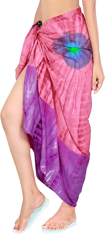 LA LEELA Women's Solid Wrap Dip Dye Beach Long Tie Dye Sarong with Coconut Shell