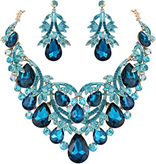 Clearine Women's Bohemian Boho Teardrop Filigree Leaf Hollow Statement Necklace Dangle Earrings Set