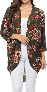 Auliné Collection Womens USA Made Casual Cover Up Cape Gown Robe Cardigan Kimono