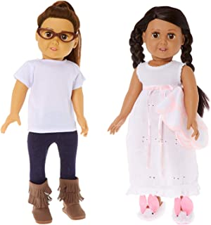 """Springfield Dolls Cutesy Bundle - 18"""" Doll Outfit Set - 5 Items: Nightgown & Doll Blanket, White Top & 18 Inch Doll Leggings, Doll Glasses, Fringe Boots and Bunny Slippers - Fits American Girl Dolls"""