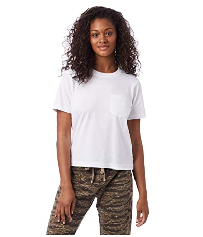 Alternative Heavy Wash Cropped Pocket Tee (White) Women
