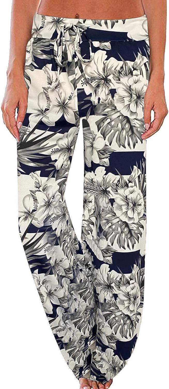 ccko Women's Comfy Pants Drawstring Floral Print Pajama Lounge Pants Wide Leg Elastic Casual Stretch Palazzo Pants