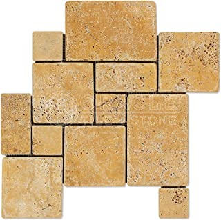 Gold (Yellow) Travertine Opus Mini Pattern 4 Piece Interlocking Mosaic Tile, Tumbled