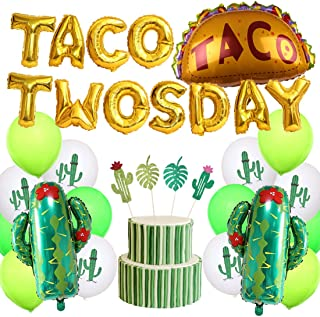 Kreatwow Taco Twosday Birthday Party Decorations 2nd Fiesta Birthday Party Supplies for Cactus Theme Cake Topper for Second Birthday