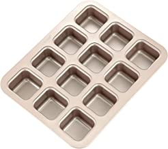 CHEFMADE Brownie Cake Pan, 12-Cavity Non-Stick Square Blondie Bakeware, FDA Approved for Oven Baking (Champagne Gold)