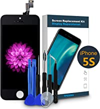 Screen Replacement for iPhone 5S/SE Black-LCD Display Touch Screen Digitizer-Front Glass Panel Full Display Assembly for iPhone 5S/SE Screen with Free Repair Toolkit Premium Tweezer, 4 Inch TPEKKA