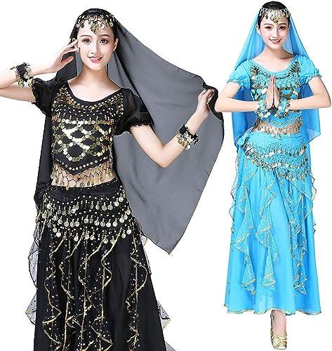 Danse du Ventre Sequin Jupe Festival Scène Vêtements Vêtements Costume Danse Indienne à Manches Courtes Costume en Mousseline De Soie Costume Exercice Vêtements (Couleur   Lake bleu)