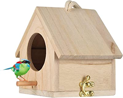 Wooden Bird House, Hanging Birdhouse for Outside, Garden Patio Decorative Nest Box Bird House for Wren Swallow Sparrow Hummingbird Finch Throstle