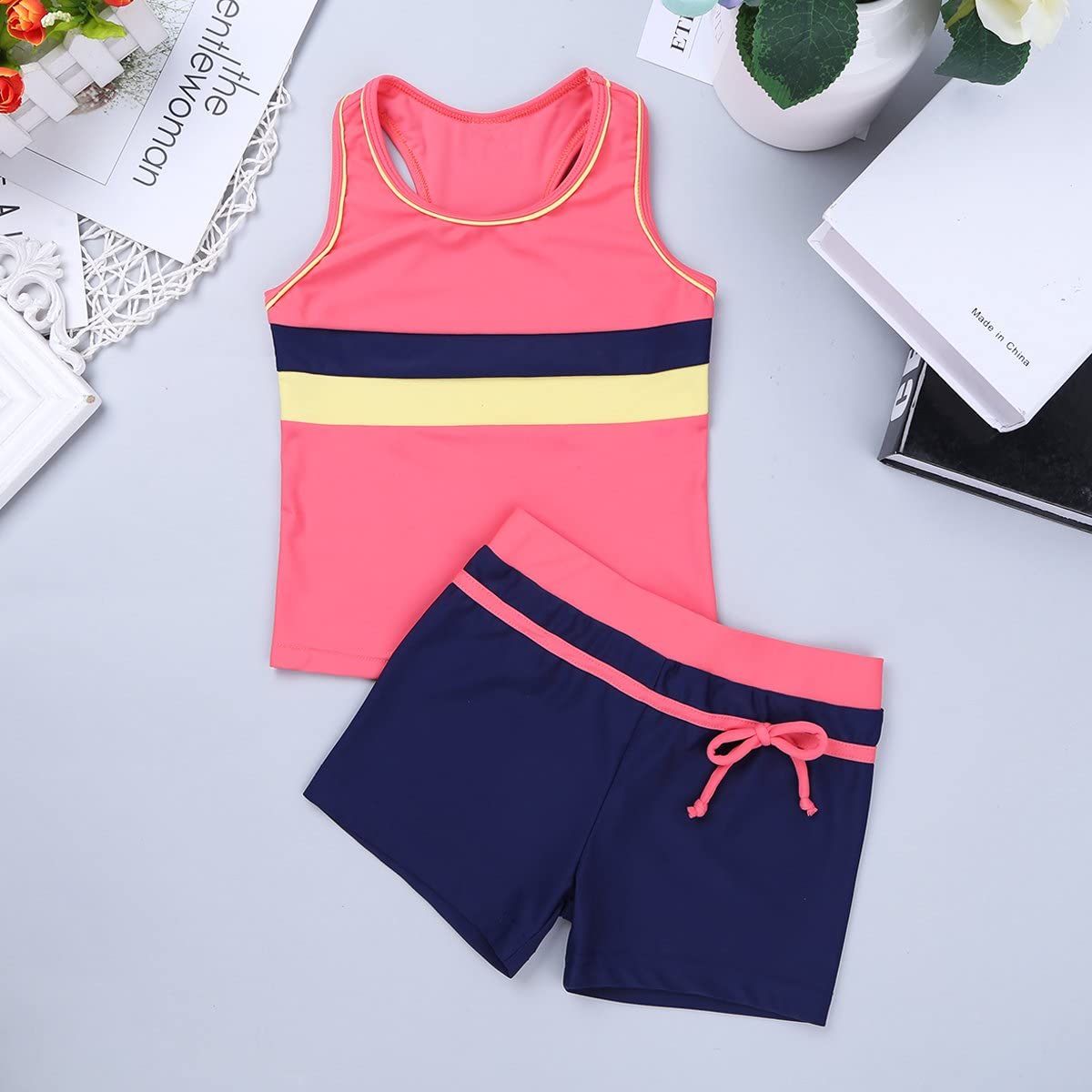 Mufeng Girls  Separates Athletic Two-Piece Swimsuit Set Summer Holiday Party Outfits Rack Back Tops with Shorts Swimwear