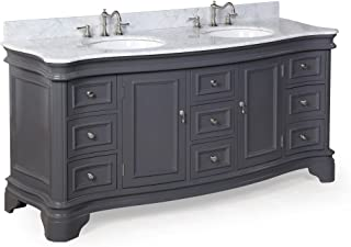 Katherine 72-inch Double Vanity (Carrara/Charcoal Gray): Includes Charcoal Gray Cabinet with Authentic Italian Carrara Marble Countertop and White Ceramic Sinks