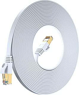 Maximm Cat7 Flat Ethernet Cable - RJ45 Gold-Plated Connectors. 600 MHz, for Computers Network Components White White 100 Feet