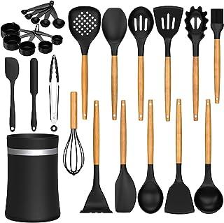 26 Pcs Kitchen Cooking Utensils Set, AIKKIL Heat Resistant Silicone Cooking Kitchen Utensils Spatula Set with Holder, Wood...