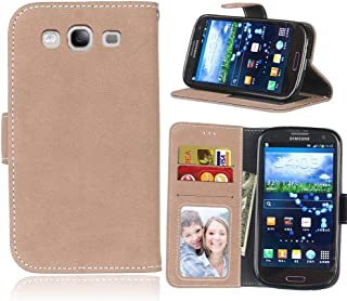 Protective Case Compatible with Samsung Retro Style Solid Color Premium PU Leather Wallet Case Flip Folio Protective Case Cover with Card Slot/Stand Compatible Samsung Galaxy S3 Phone case