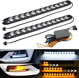 BOODLIED 2pcs Arrow LED DRL Strip Switchback 12.4inch Long Super Bright 2835 81SMD Chips Dual-Color Amber White for Turn Signal Light & DRL.