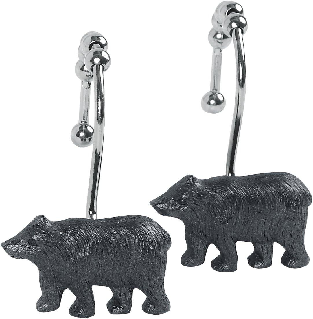 DS Popular popular Bath Black Bear Max 88% OFF Shower D Curtain Bathroom Hooks