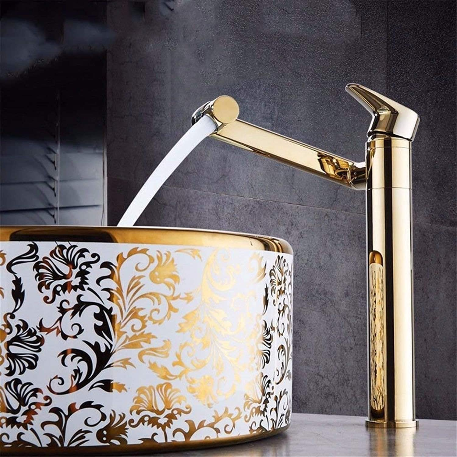Oudan Kitchen taps solid brass kitchen sink basin mixer tap hot and cold water sink faucet with spout redating gold (color   -, Size   -)