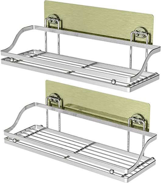 Bathroom Shelves Veckle Wall Mounted Adhesive Shelf Bathroom Shower Caddy Traceless Kitchen Rack No Drilling Stainless Steel Shelf Home Storage Organizer 2 Pack