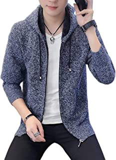 Howely Mens Long Sleeve Knitting Sherpa Lining Outerwear Zip Sweater Cardigan