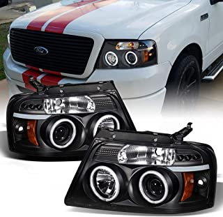 ACANII - For 2004-2008 Ford F150 LED Halo Ring Black Housing Projector Headlights Headlamps, Driver & Passenger Side