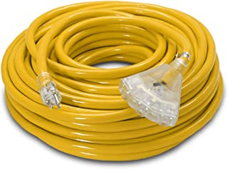 100-ft 10/3 Heavy Duty 3-Outlet Lighted SJTW Indoor/Outdoor Extension Cord by Watt's Wire - Long Yellow 100' 10-Gauge Grounded 15-Amp Three-Prong Power-Cord (100 foot 10-Awg)