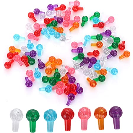 Taghua 100Pcs Plastic Lites Ceramic Christmas Tree Replacement Lights, Small Pin Globe Light Ornaments Assorted Colors for Halloween Christmas Bar Party Favors