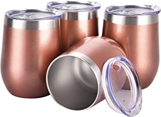 4 Pack 12Oz Stemless Wine Tumbler Set Stainless Steel Wine Glasses with Lid Set of 4 Shatterproof - BPA Free Healthy Choice Family Daily Use(Rose Gold)