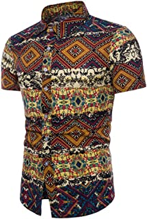 OSTELY Shirts for Men, Summer Bohe Floral Short Sleeve Linen Basic T Shirt Blouse Top Plus Size